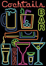 Neon Cocktails/Bar Symbols/ai Royalty Free Stock Photo
