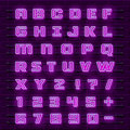 Neon font city. Neon purple font english. City alphabet font. Vector illustration Royalty Free Stock Photo