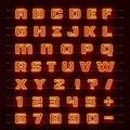 Neon font city. Neon red font english. City alphabet font. Vector illustration