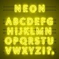 Neon font city text, Night yellow Alphabet, Vector illustration