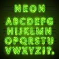 Neon font text.  green  eps. Lamp  . Alphabet . Vector illustration Royalty Free Stock Photo