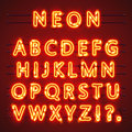 Neon font text. Lamp sign. Alphabet . Vector illustration Royalty Free Stock Photo