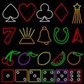 Neon gambling symbols Royalty Free Stock Photo