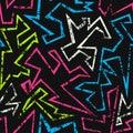 Neon geometric seamless pattern with grunge effect