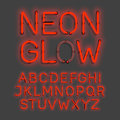 Neon Glow alphabet Royalty Free Stock Photo