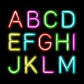 Neon glow alphabet set Royalty Free Stock Photo