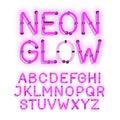 Neon Glow alphabet on white