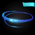 Neon Glow circles in motion blurred edges, bright glow glare, magical glow, colorful design holiday. Abstract glowing rings slow s