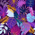 Neon glow fantastic leaves seamless vector pattern in fashion, trend color palette. Glowing fantastic multicolor leaves