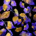 Neon glowing leaves. Night mysterious seamless pattern. Watercolor Royalty Free Stock Photo