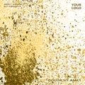 Neon gold explosion paint splatter artistic cover frame design.
