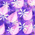 Neon Grunge Floral and Leaf Pattern Graphic Design Royalty Free Stock Photo