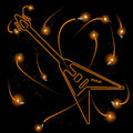 Neon guitar with sparks Royalty Free Stock Image