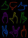 Neon hands set on nine hand gestures rendered in Royalty Free Stock Image