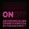 Neon Light Alphabet Font. Two different styles. Lights on or off. Royalty Free Stock Photo