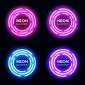 Neon light circles set. Techno frames collection.