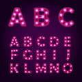 Neon light letters alphabet vector font illustrations lightbulb abc Royalty Free Stock Photos