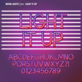 Neon lights alphabet and digit vector set of Royalty Free Stock Image