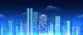 Neon lights cityscape seamless pattern Royalty Free Stock Photo