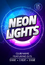 Neon lights party music poster. Electronic club deep music. Musical event disco trance sound. Night party invitation. DJ flyer Royalty Free Stock Photo