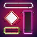 Neon Lights Rectangle Frames Set Royalty Free Stock Photo