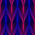 Neon lines seamless pattern. Background with glowing 80s retro vapor wave style