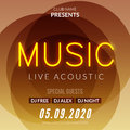 Neon Live Music Concert Acoustic Party Poster Background Template with neon text sign flyer Royalty Free Stock Photo