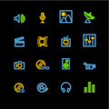 Neon media icons Stock Image