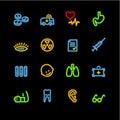 Neon medicine icons Royalty Free Stock Photo