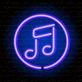 Neon music note on the brick wall vector eps illustration Stock Photography