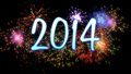 Neon new year with fireworks blue colourful Royalty Free Stock Photo