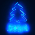 Neon new year illuminated pictogram of christmas tree and digits of Stock Photo