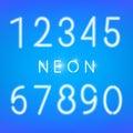 Neon numbers. Glowing typeset