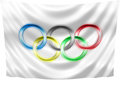 Neon olympic flag on a white background Stock Photography