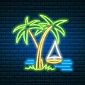 Neon palm. Tropical sign. Summer plant, leaves. Night bright signboard, Glowing icon, light banner. Editable vector.