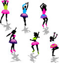 Neon Party Girl Silhouettes Stock Photos