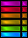 Neon plaque set of plates on black background Stock Photos