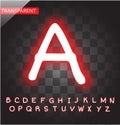 Neon red alphabet vector