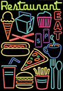 Neon Restaurant/Food Symbols/ai Royalty Free Stock Photo