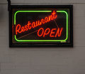 Neon 'Restaurant Open' Sign