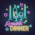 Neon romantic dinner illustration. Isolated vector line art image with handwritten typography on dark background Royalty Free Stock Photo