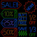 Neon sale signs Royalty Free Stock Image