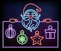 Neon Santa is holding banner. Glow on black background. Place for text. Christmas banner