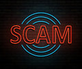 Neon scam concept. Royalty Free Stock Photo
