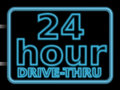 Neon sign 24hr drive Stock Photography