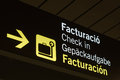 Neon sign check in at the airport of palma de mallorca spain Stock Image