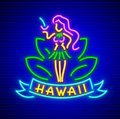 Neon sign with girl of hawaii cocktail