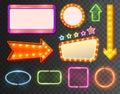Neon Sign Icon Set Royalty Free Stock Photo
