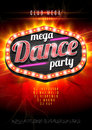 Neon sign mega Dance party in light frame on red  flame background. Vector illustration. EPS10. Royalty Free Stock Photo