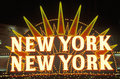 A neon sign that reads �new york new york� at the hotel and casino in las vegas nevada Royalty Free Stock Photos